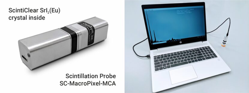 ScintiClear SrI2(Eu) Strontium Iodide MacroPixel MCA Scintillation Radiation Detector with USB readout